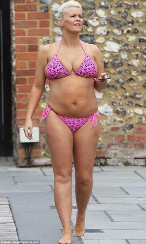 celebritie Kerry Katona 20 years chest photo in public