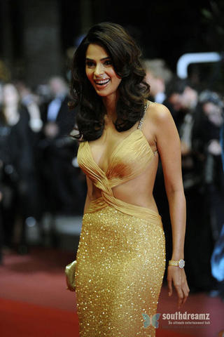 celebritie Mallika Sherawat 18 years bare-skinned art in public