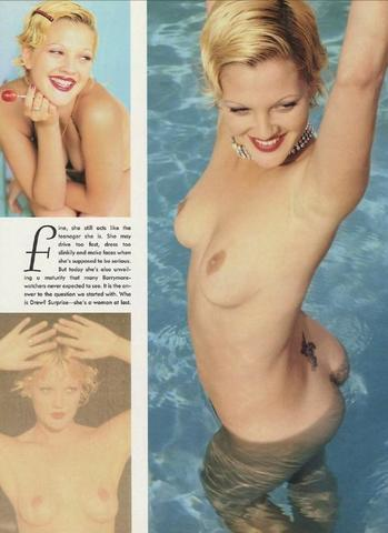 celebritie Drew Barrymore 21 years chest photography beach