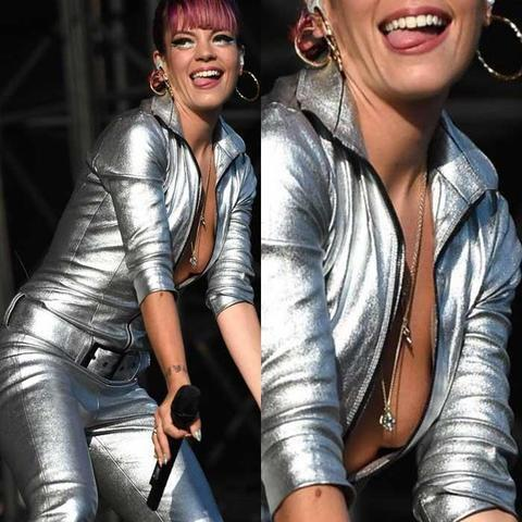 actress Lily Allen 22 years bosom photography in the club