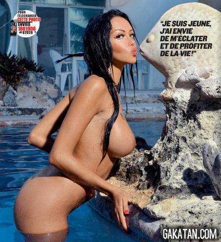 models Nabilla Benattia 23 years stripped photoshoot in the club