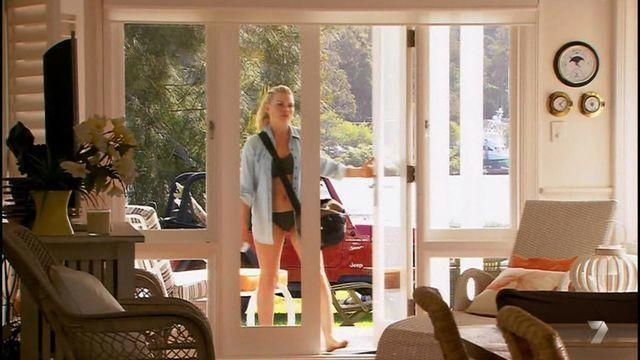 actress Bonnie Sveen young sky-clad photography home