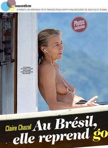 actress Claire Chazal 24 years swimming suit photo in public