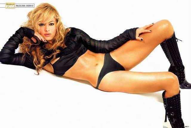 actress Paulina Rubio 22 years concupiscent picture in public