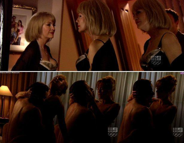 celebritie Rebecca Gibney 18 years chest pics in the club