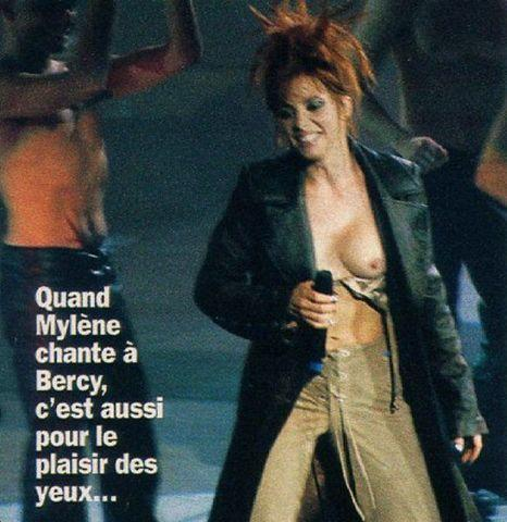 models Mylène Farmer 24 years swimsuit picture in the club