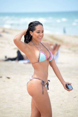 actress Andrea Calle 22 years Without bra image in public