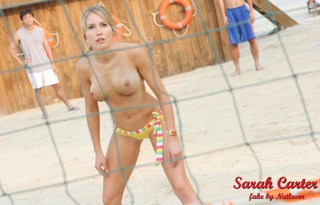 actress Sarah Carter 19 years breasts photography beach