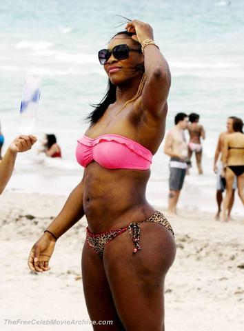 actress Serena Williams 18 years risqué photography beach