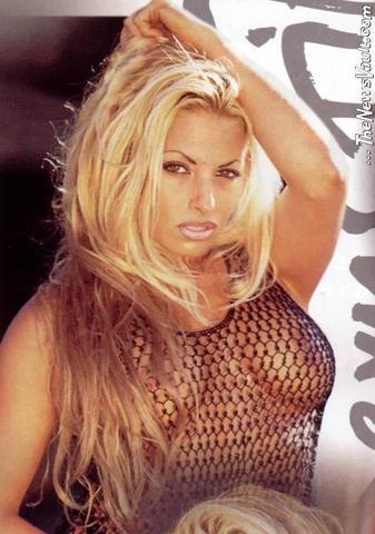 models Trish Stratus 18 years chest photography in the club