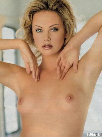 actress Charlize Theron 21 years Without brassiere image home
